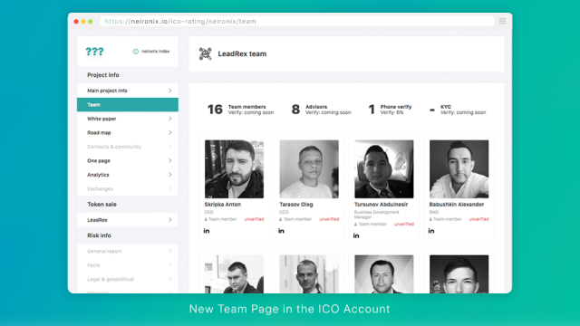 New Team Page in ICO Account