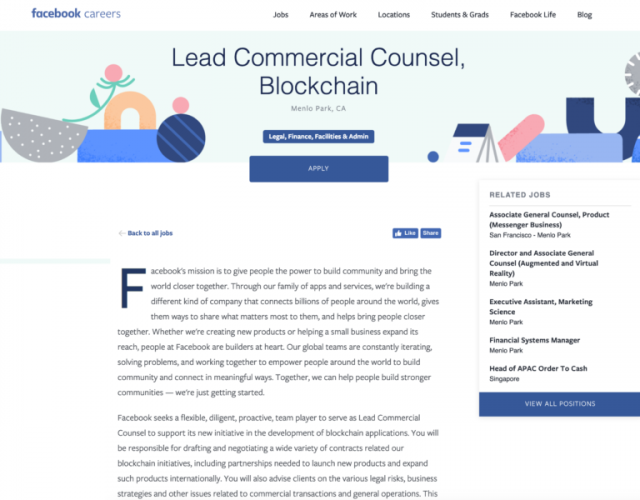 Facebook Seeks Counsel to Forge Blockchain Partnerships for
